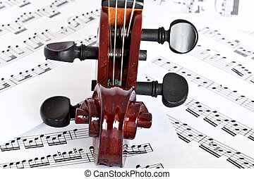 fingerboard - fiddle fingerboard on notes background