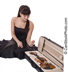 fiddle., menina, jovem, bonito