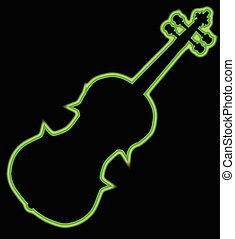 Fiddle Neon Outline - A neon violin outline in green...