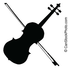 A typical violin and bow silhpuette isolated over a white background