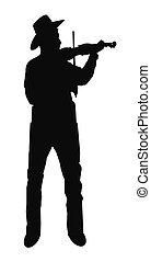 fiddle, silhouette, spelend, man