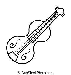 fiddle string instrument line style icon vector illustration design