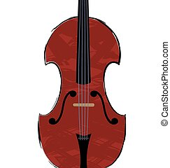 white background and a large abstract stringed instrument