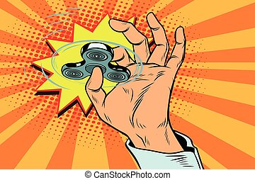fidget spinner hand rotation. Pop art retro vector...