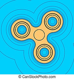 Fidget spinner sign. Vector. Sand color icon with black contour and equidistant blue contours like field at sky blue background. Like waves on map - island in ocean or sea.