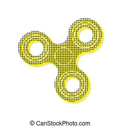 Fidget spinner sign. Vector. Yellow icon with square pattern dup