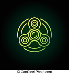 Fidget spinner vector green icon