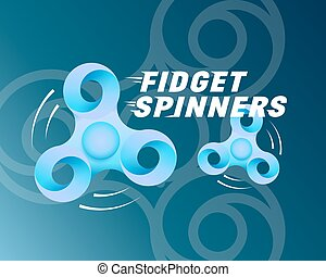 Fidget Spinners Abstract Vector Card, Banner or Background. Dynamic Typography and Vibrant Colors