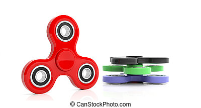 Fidget spinners on white background. 3d illustration