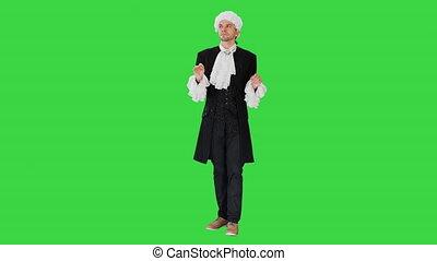 fidgeting, pensée, habillé, doigts, sien, homme, manteau, perruque, key., chroma, écran, robe, courtier, blanc vert