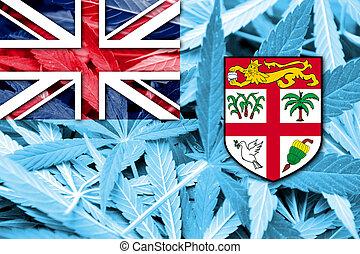 fidschi, fahne, auf, cannabis, hintergrund., droge, policy., legalization, von, marihuana