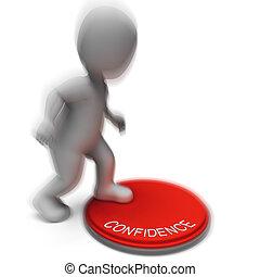 fiducia, audacia, credenza, premuto, assicurazione, mostra