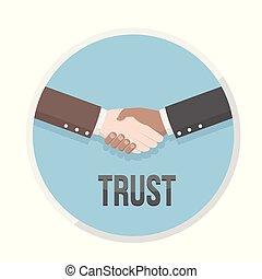 fiducia, icona, scuotere, mano