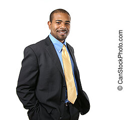 fiducioso, americano, africano, uomo affari