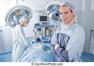 fiducioso, chirurgo, sala operatoria