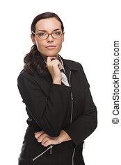 fiducioso, corsa mescolata, donna d'affari, isolato, bianco