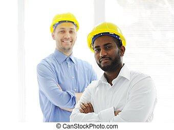 fiducioso, giovane, ingegnere