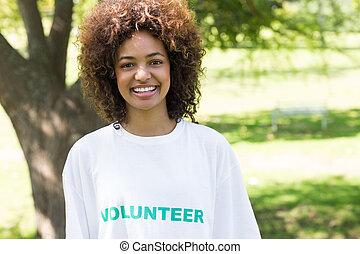 fiducioso, parco, femmina, volontario