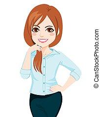fiducioso, proposta, giovane, donna d'affari