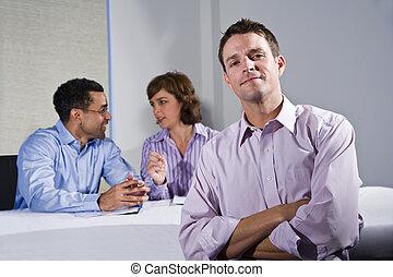 fiducioso, riunione, uomo affari