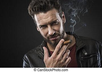 fiducioso, sigaro, moda, uomo