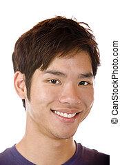 fiducioso, sorridente, asiatico, studente, felice