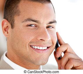 fiducioso, telefono, commesso