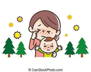 fiebre del heno, padres, sufrimiento, niños