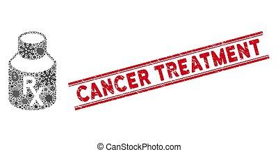 fiebre, icono, mosaico, cáncer, mezcla, tratamiento,...