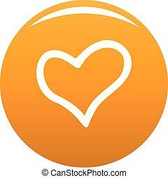 fiel, corazón, icono, vector, naranja