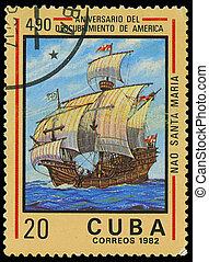 fiel, maria, cuba, estampilla, -, américa, 1982:, impreso, santa, 1982, barco, hacia, exposiciones, descubrimiento