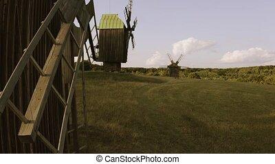 field., éoliennes, rustique, paysage, bois