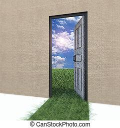 field., życie, drzwiowe odemknięcie, nowy