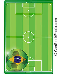 field and brazil soccer ball illustration