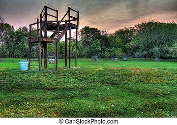 Field archery range in a park in high dynamic range - Field...