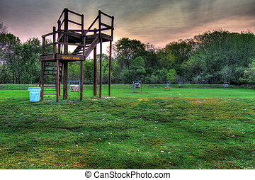 Field archery range in a park in high dynamic range - Field...