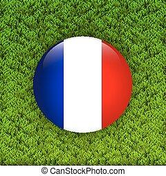 field., bandera, trawa, zielony, francja