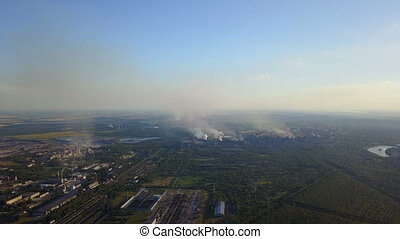 Field Burning Aerial High View Of Land In Smoke Horizon...