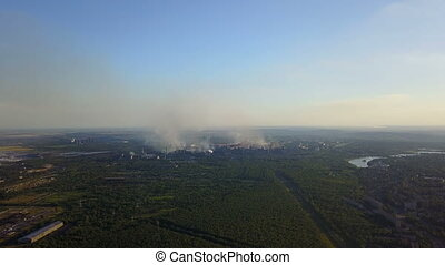 Field Burning Aerial High View Of Land In Smoke Horizon...
