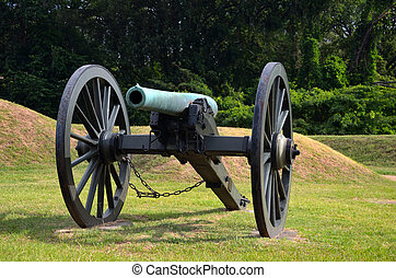 Field Cannon - Cannons are displayed on the Vicksburg...