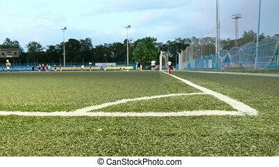 Field corner. American football training. Smooth and slow slider shot
