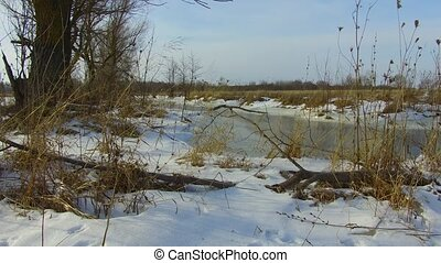 Field Creek with grass frozen and snow away the Russia...