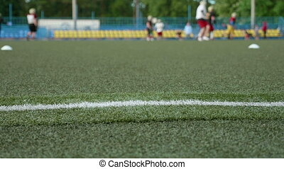 Field edge of the american football. Smooth and slow slider shot