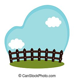 field farm with fence scenery