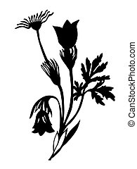 field flower silhouette on brown background, vector ...