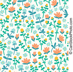Field flowers doodle seamless pattern