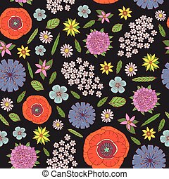 Field flowers - seamless pattern. Doodle cartoon floral endless