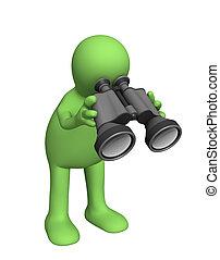 Field-glass - 3d puppet looking through field-glass. Object ...