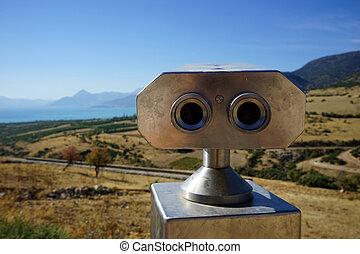 Field-glass on the viewpoint near Egirdir lake, Turkey