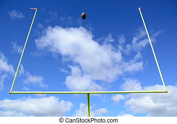 American Football and Goal Posts - Field Goal, American...